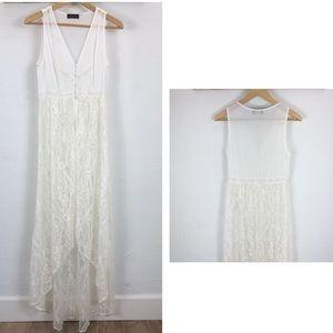 ASTR sheer lace full length duster kimono